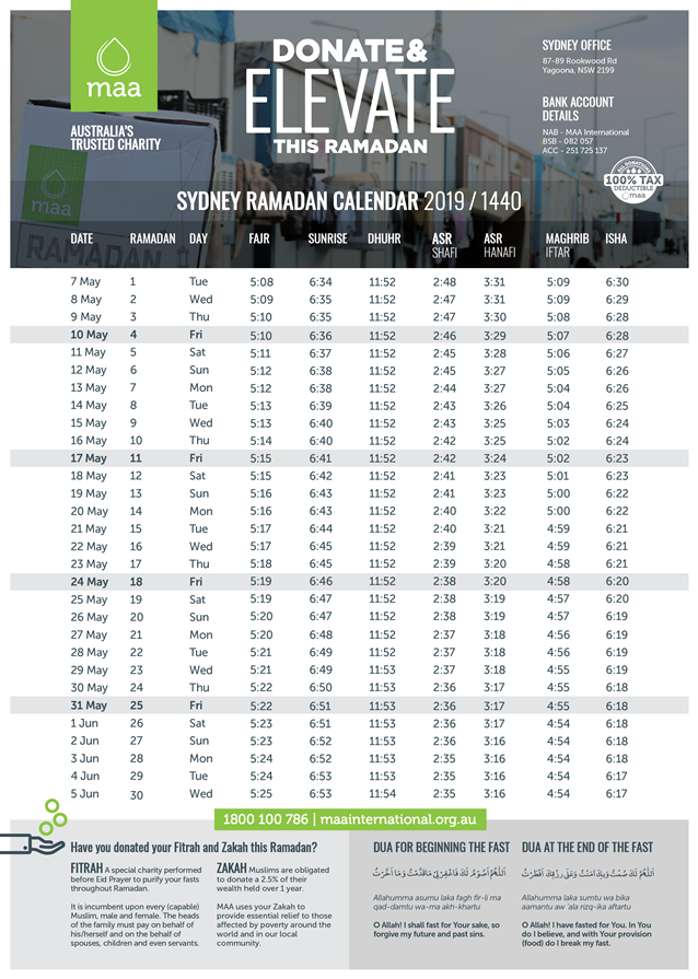 Sydney Ramadan Timetable 2019 - MAA International
